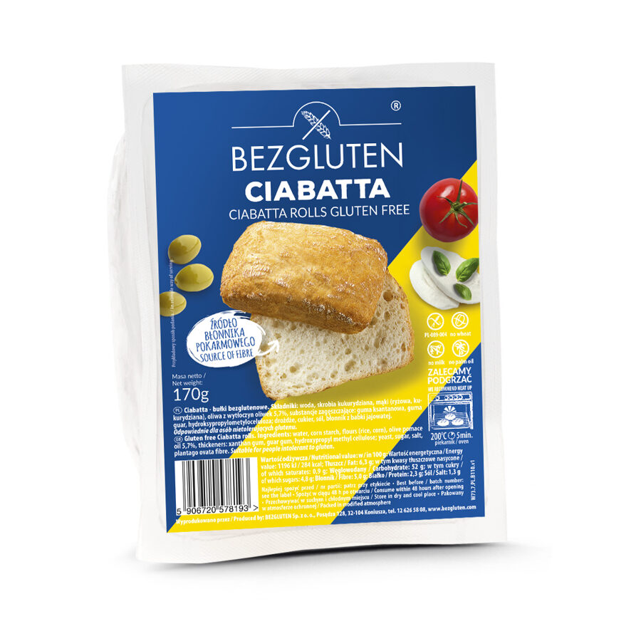 Bezglutēna Ciabatas maizītes, 170 g.