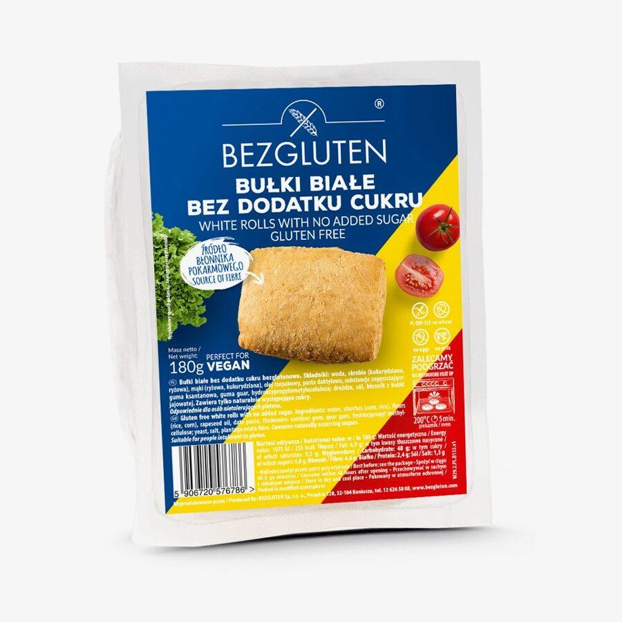 Gluten free white rolls with no added sugar, 180 g.