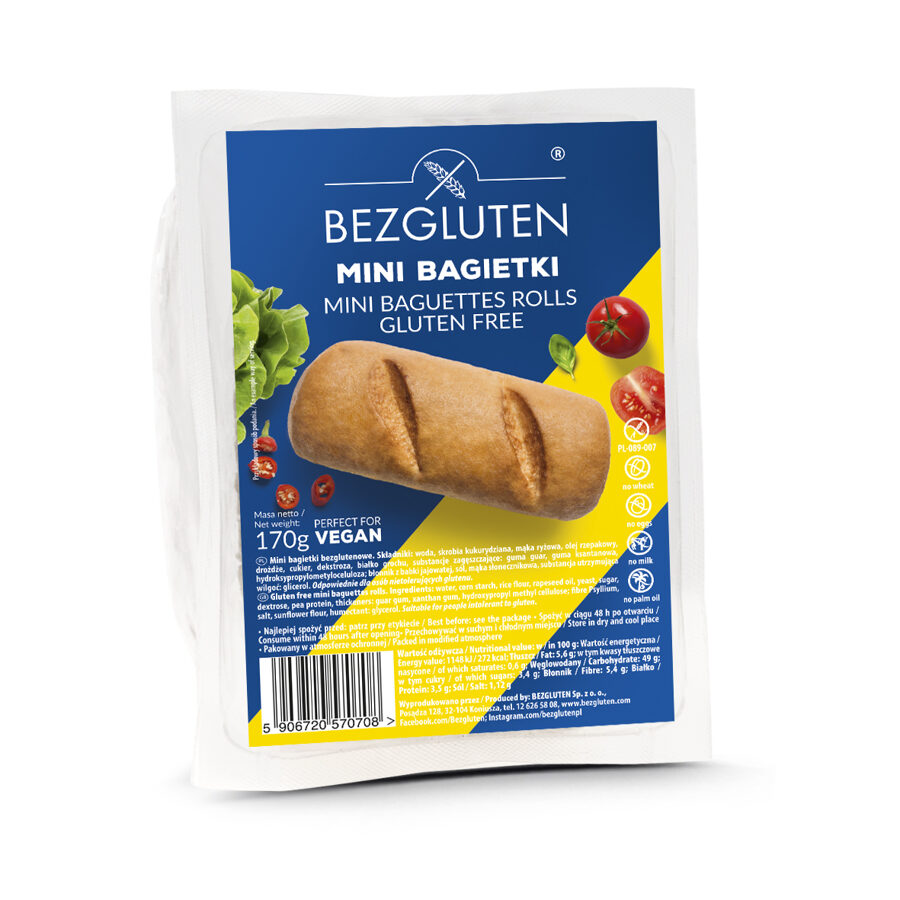 Gluten free mini baguette with no added sugar, 180 g.