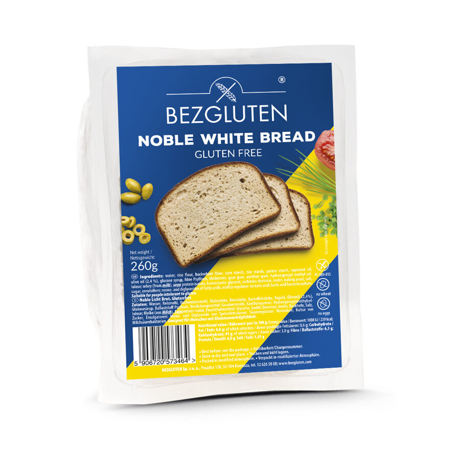 Gluten free Noble white Bread, 260 g.