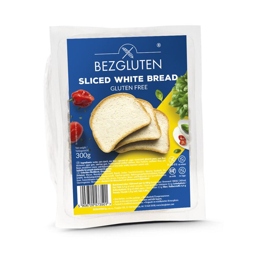 Gluten free white sliced bread, 300 g.