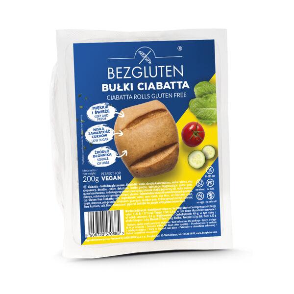 Gluten free ciabatta rolls, 200 g.