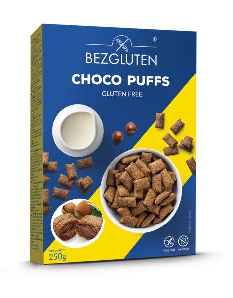 Gluten free choco puffs with hazelnut cream, 250 g.
