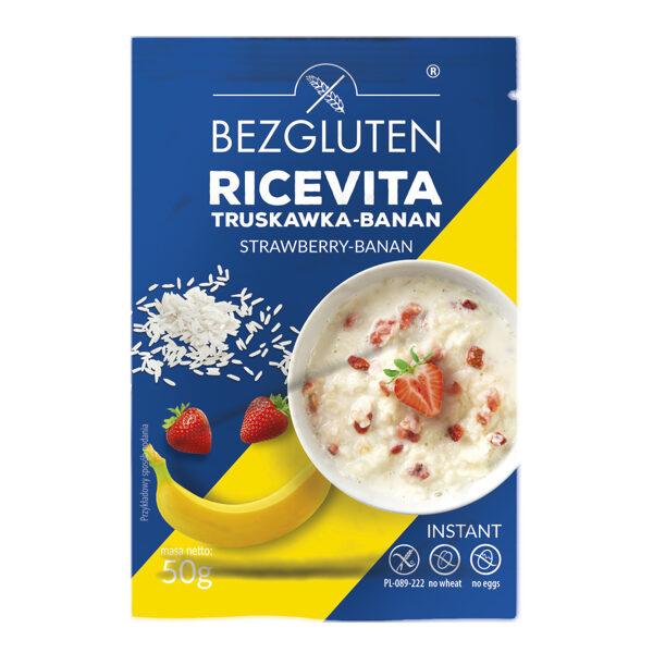Bezglutēna rīsu pārslu porcija ar zemenēm un banāniem, 50 g.