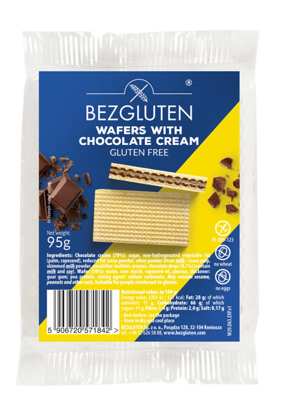 Gluten free wafers with chocolate filling, 95 g.