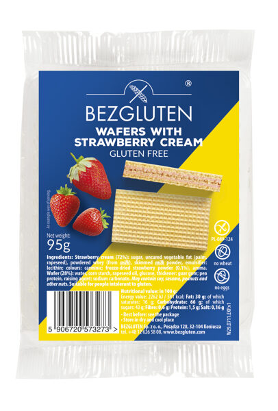 Gluten free wafers with strawberry filling, 95 g.
