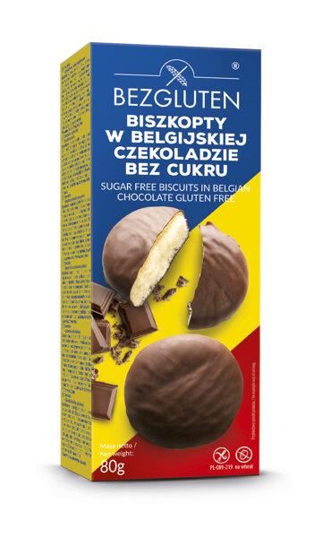 Gluten free sponge cookies in Belgian chocolate with no added sugar, 80 g.