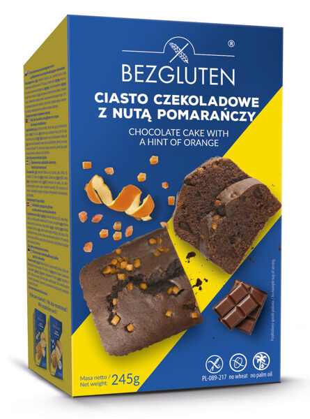 Gluten-free chocolate cake with candied orange zest, 245 g.