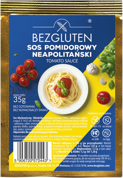 Bezglutēna tomātu mērce, 35 g.