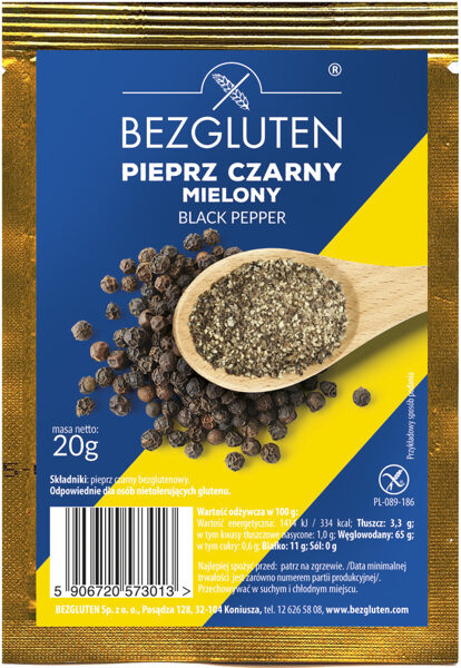 Ground black pepper, 20 g.